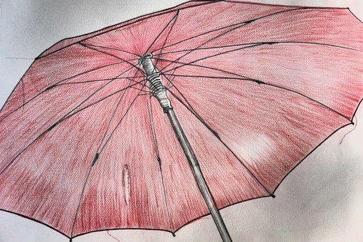 Tela, Guarda Chuva, Vermelho