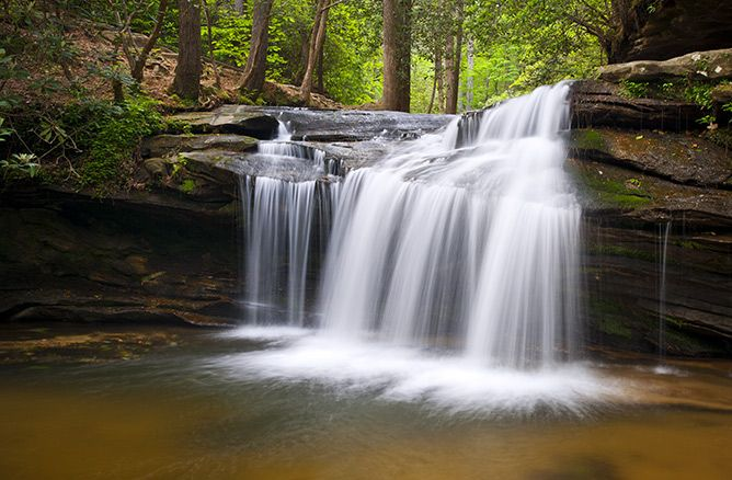 Waterfall at Table Rock State Park in the Upstate South Carolina region.