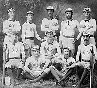 A baseball team and its uniforms in the 1870s.