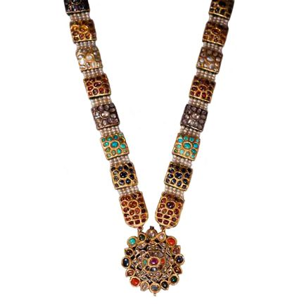 A Necklace with Navaratna Stones, North India or Hyderabad