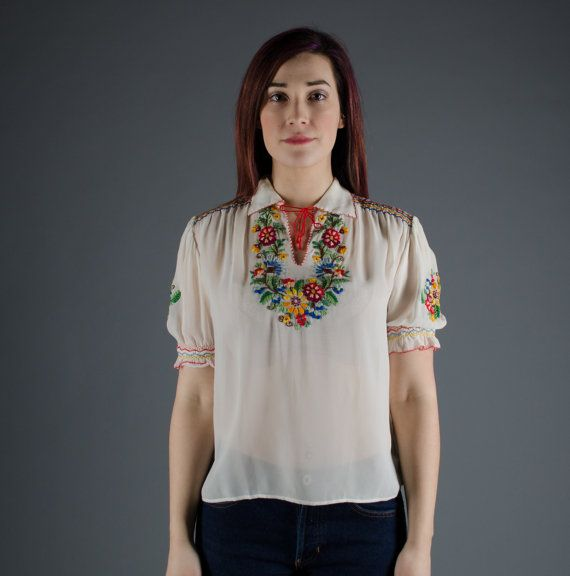 Vintage 1930s Hungarian Blouse - 30s Peasant Blouse - Lost in Budapest Blouse