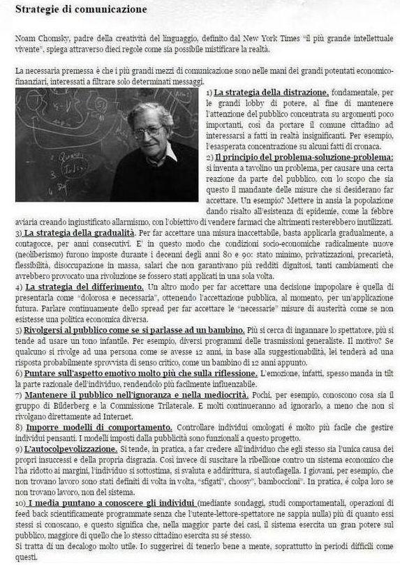 Strategie di comunicazione di Noam Chomsky