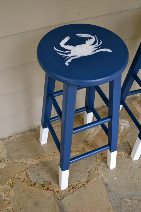 Recycled Handpainted Blue and white Crab Stools by meredithmbrooks, $150.00