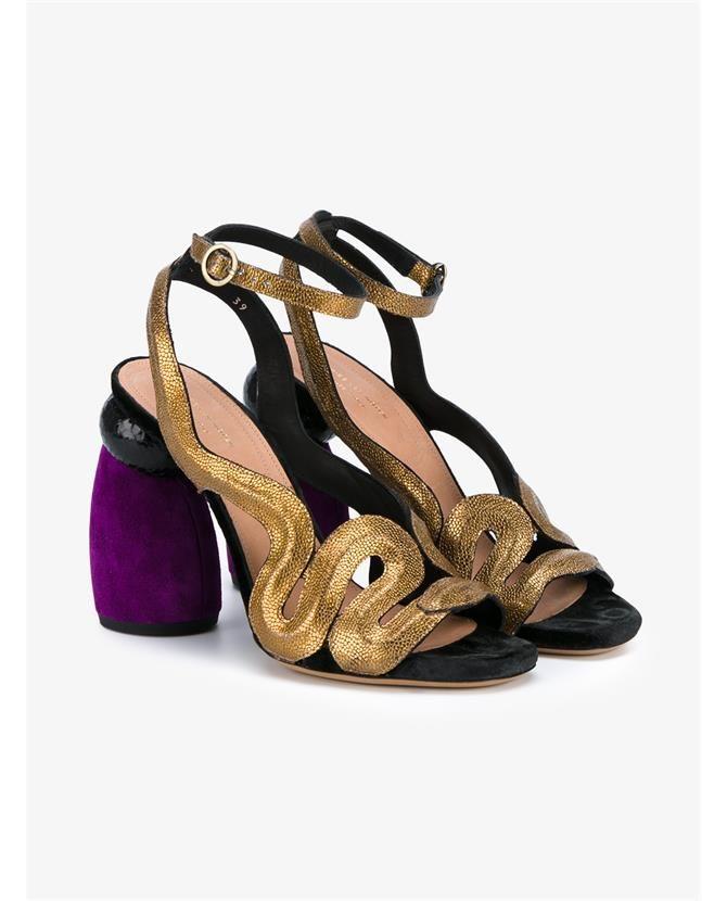 DRIES VAN NOTEN Suede and Leather Contrasting Heel Sandals