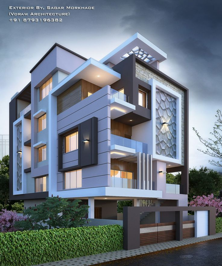 Modern Residential Exterior By Ar Sagar Morkhade: #Modern #Residential #House #bungalow #Exterior By, Sagar