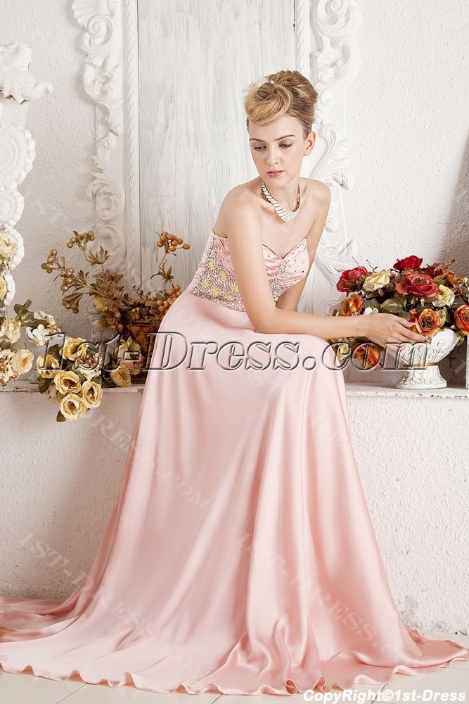 Elegant Coral Prom Gown for Large Size:1st-dress.com