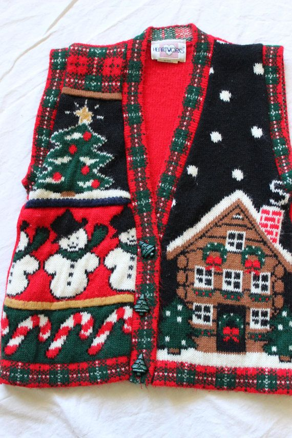 Snowman, Gingerbread house, ugly Christmas sweater vest, Medium