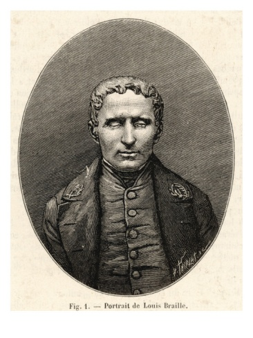 """""""Louis Braille French Inventor of System of Raised-Point Writing for the Blind""""=>"""