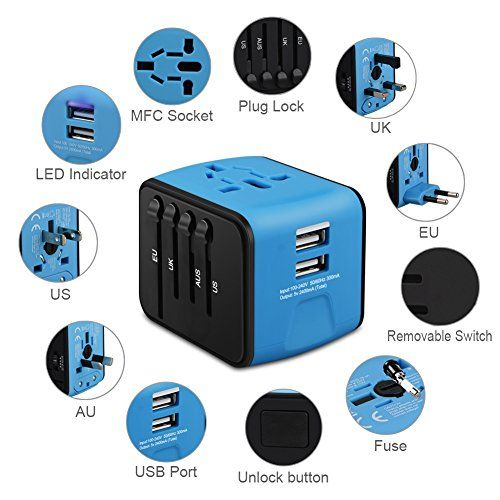 Universal Travel Adapter, Iron-M All-in-one International Power Adapter with 2.4A Dual USB, European Adapter Travel Power Adapter Wall Charger for UK, EU, AU, Asia Covers 150+Countries (Blue) 2