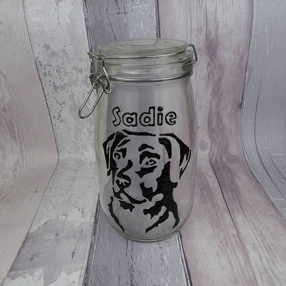 Personalised hand painted Labrador dog treat jar Add your