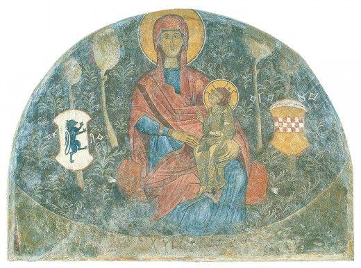 Τοιχογραφία με παράσταση της Παναγίας των Καταλανών. Προέρχεται από τον κατεδαφισμένο σήμερα ναό του Προφήτη Ηλία στο Σταροπάζαρο. Τα αρχικά F.A. και L.S. ένθεν και ένθεν της Παναγίας ταυτίζονται με τα ονόματα του Γενοβέζου δούκα των Αθηνών Fransesco Acciaiuoli και του άρχοντα Lorenzo Spinola. Χρονολογείται στα μέσα του 15ου αιώνα. Πηγή: www.lifo.gr
