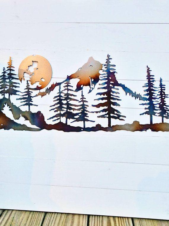 Metal Mountain Wall Art 40 Mountain Scene Moon Over Etsy Mountain Wall Art Cabin Art Rustic Art