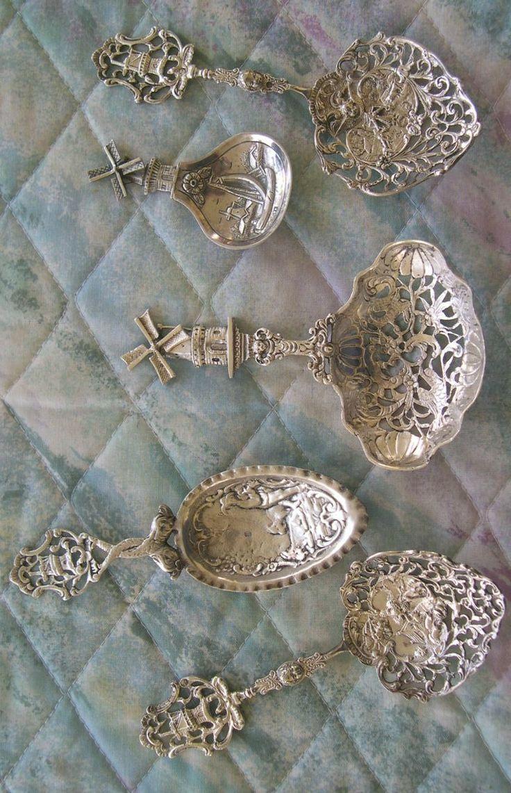 ornate silver bonbon spoons