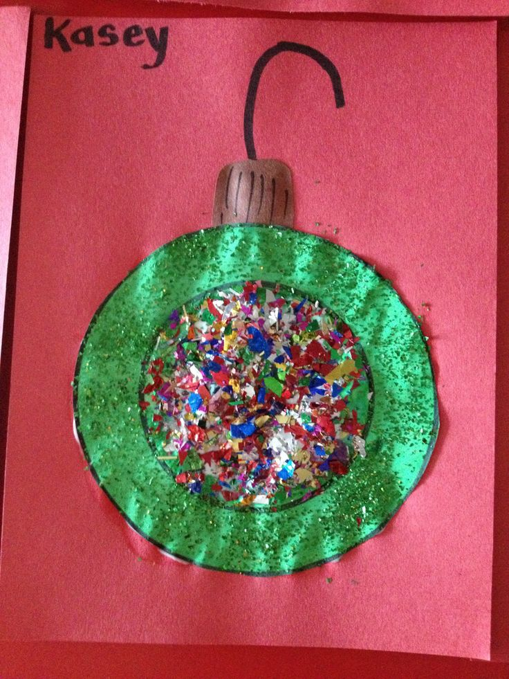 """O"" is for Ornament. Preschool art We did this in my 3 year old class. First we painted the letter ""O"" green, our color for the week, then glittered the wet paint. After it dried we glued them to construction paper and filled the center of the letter with glue and confetti. Added the top and hook last! Loved them!"