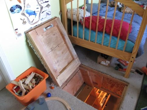 Hidden trap door from child's room to underground room full of model trains. - Ok, this is simple and cool.