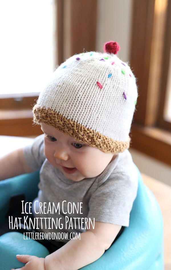 Make this adorable ice cream cone hat with Lion Brand Vanna's Choice! Free pattern by Cassandra May.