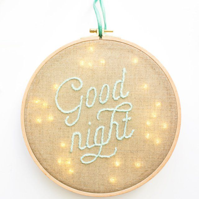 Veilleuse tambour à broder - embroided night light for kids