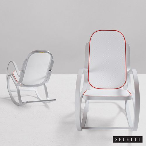 Seletti Rock Me is a modern #rockingchair made of wood and cloth. Available in gray yellow, white red and white yellow colors. http://www.allmodernoutlet.com/seletti-rock-me-white-red/