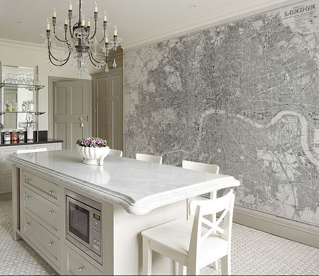 Contemporary Kitchen With Wallpaper Mural
