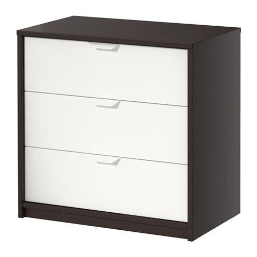 IKEA - ASKVOLL, Commode 3 tiroirs, brun noir/blanc, , Les tiroirs, qui sont faciles à ouvrir et à fermer, sont équipés d'arrêts.