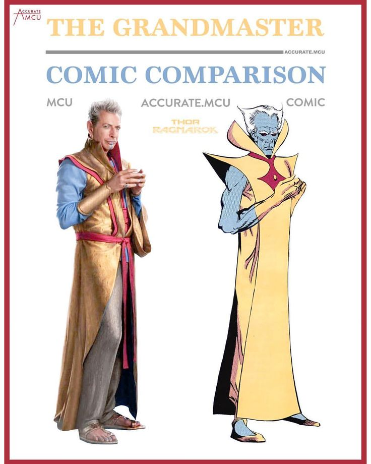 "1,838 Likes, 18 Comments - • Accurate.MCU • mcu fanpage (@accurate.mcu) on Instagram: ""• THE GRANDMASTER - COMIC COMPARISON • What do you think of his MCU look ? I was a bit let down at…"""