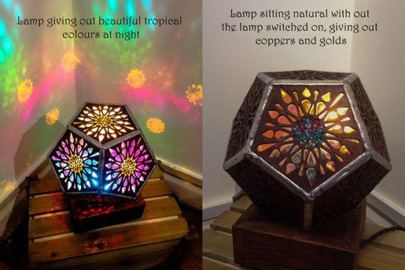 Mandala Tropical Pentagon lamp. Lampshade. Wooden Lamp. Desk