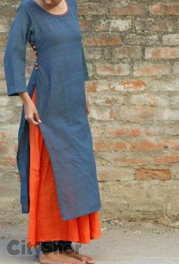 Blue grey kurti with orange lining