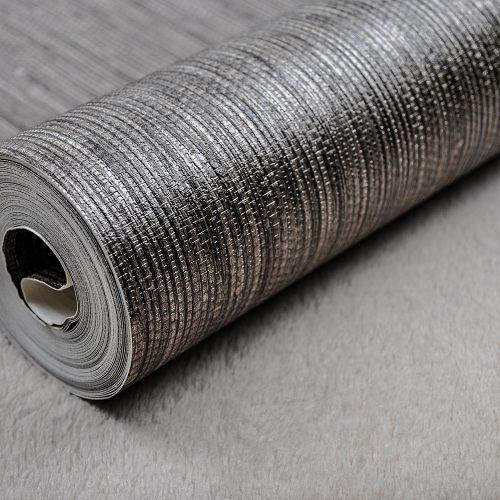 Best Silver Metallic Vinyl Grasscloth Wallpaper Roll Bedroom 400 x 300