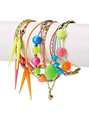 33% OFF Curls & Pearls Girl's 3-Pack Spikes & Beads Bracelet Set, Green/Multi