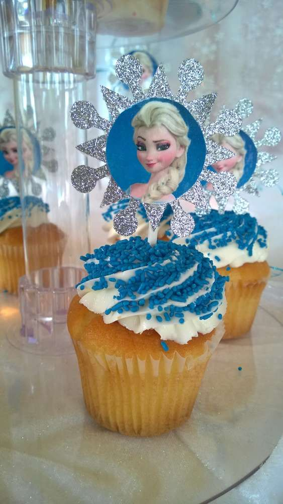 Frozen Birthday Party cucpakes!  See more party planning ideas at CatchMyParty.com!