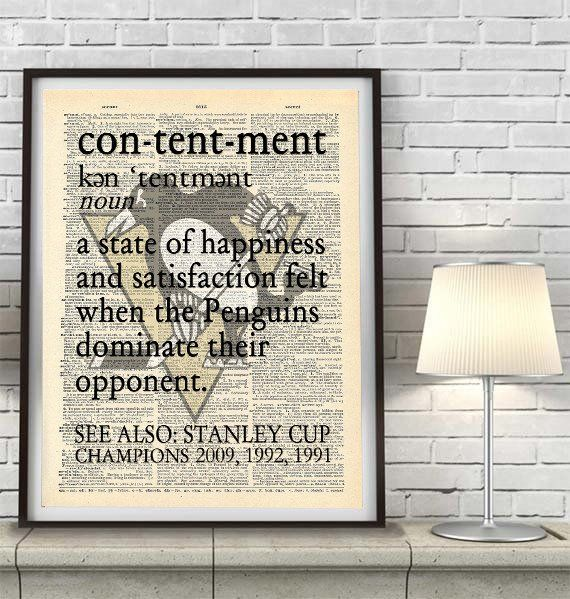 "Pittsburgh Penguins hockey inspired ""Contentment"" ART PRINT Using Old Dictionary Pages, Unframed"