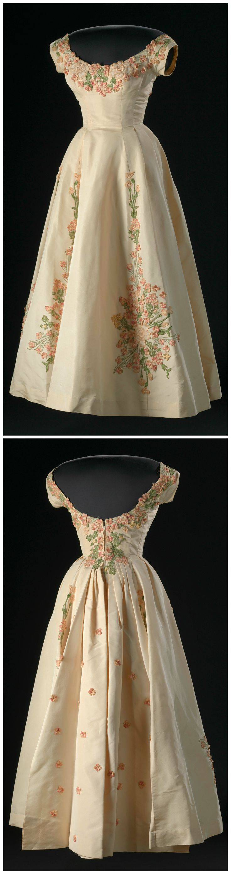 Dress designed by Ann Lowe, New York City, 1958. Belonged to Patricia Penrose Schieffer, wife of CBS News' Bob Schieffer. Silk, tulle, linen, metal, and elastic. Collection of the Smithsonian National Museum of African American History and Culture, Gift of the Black Fashion Museum founded by Lois K. Alexander-Lane.