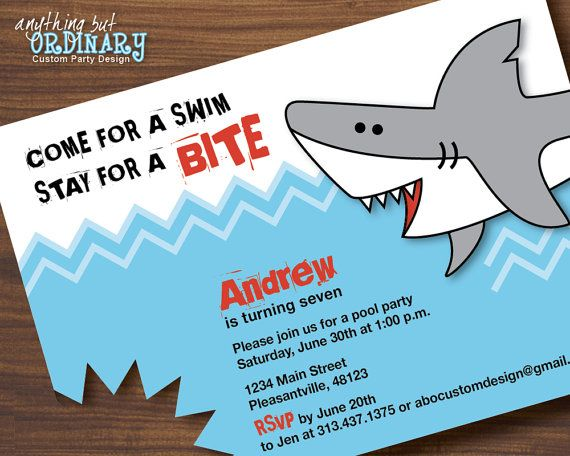 Shark Bite Birthday Invitation DIY Pool Party by ABOcustomDesign, $12.00