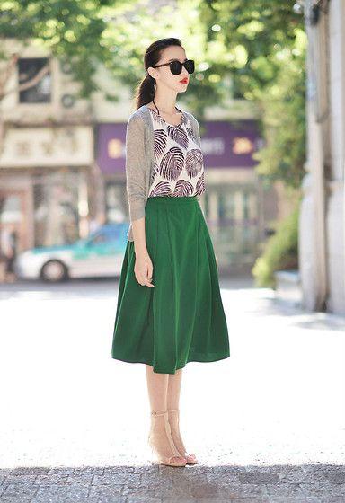 Shalex - Shalex Pleated Midi Skirt - / Green Skirt /