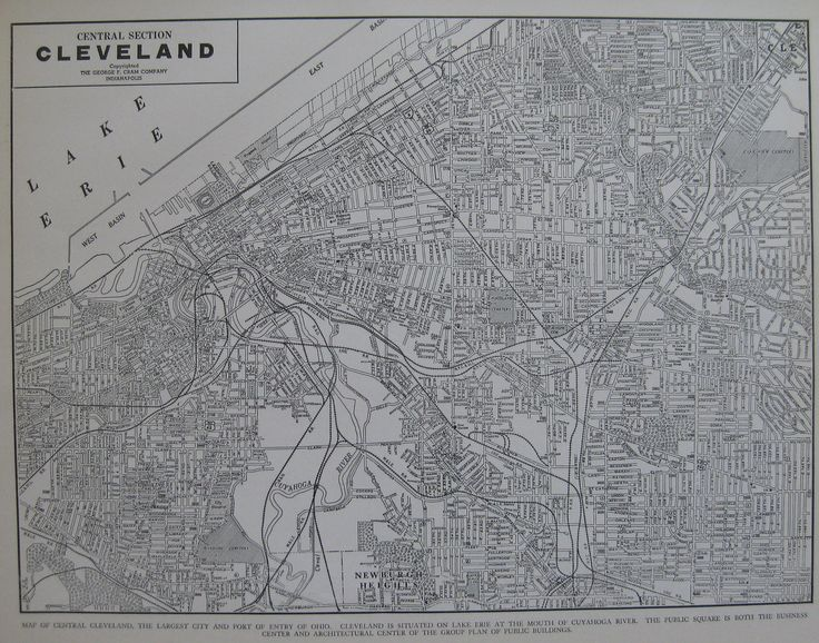 CLEVELAND Map of Cleveland Ohio VINTAGE 1939 Black and White Map Gallery Wall…