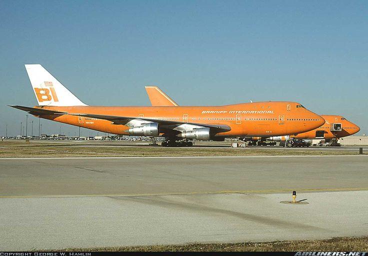 Braniff International Airways - Boeing 747-127s at Dallas / Fort Worth International Airport, Texas, October 11, 1981.