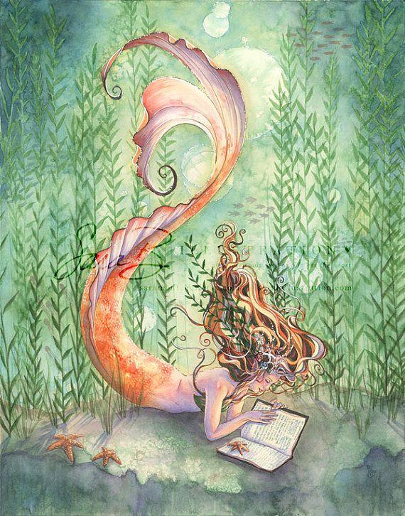 Goldfish Mermaid with Book Print - Seaweed Seashells and Starfish - Bedroom Wall Art - 8x10 inches