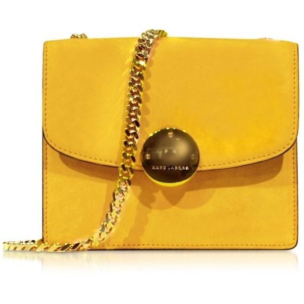 Marc Jacobs Designer Handbags Mini Trouble Sunflower Yellow Suede... (€1.035) ❤ liked on Polyvore featuring bags, handbags, shoulder bags, purses, marc jacobs handbags, mini purse, marc jacobs shoulder bag, yellow purse and yellow shoulder bag