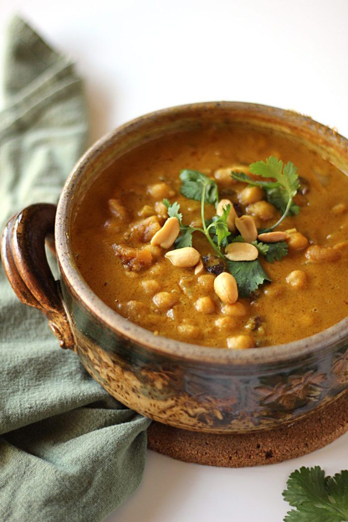 Chickpea Peanut Stew with Apricots and Raisins