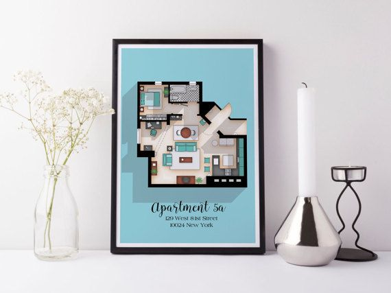 Seinfeld Poster Seinfeld TV Show Apartment Floor by DrawHouse