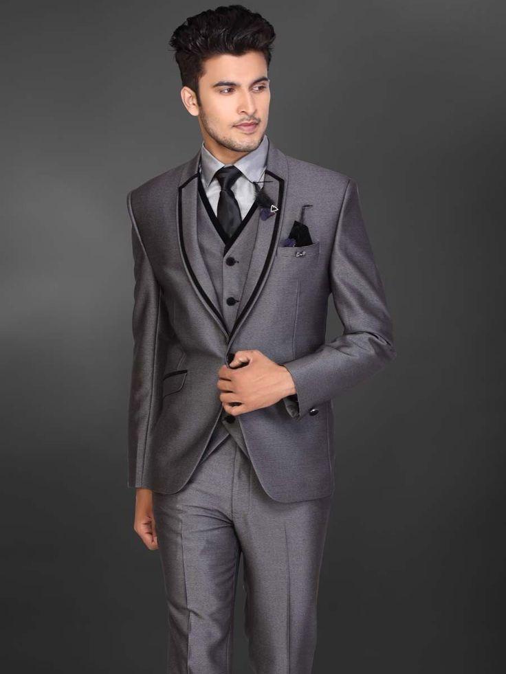 Серый мужской костюм-тройка (с жилетом)   рубашка с галстуком