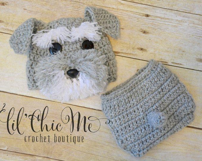 Pañal y bebé cachorro sombrero cubierta conjunto/ganchillo Schnauzer recién nacidos fotos Prop