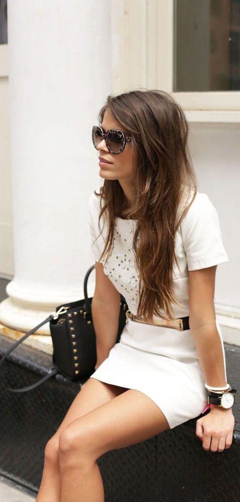 #street #style / white dress + gold