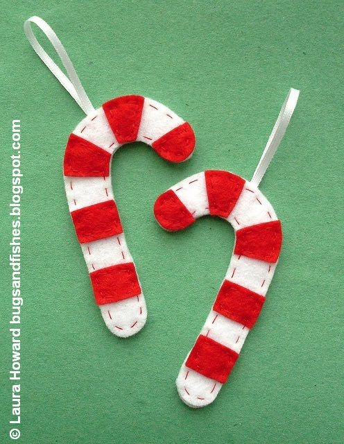 Bugs and Fishes par Lupin: Procédure: Felt Ornements Candy Cane