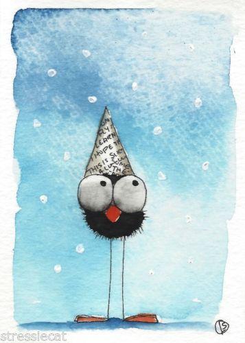 ACEO Original watercolor Folk Art illustration Whimsy bird crow paper hat snow