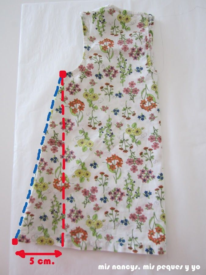 mis nancys, mis peques y yo, tutorial blusa sin mangas niña (patrón gratis), marcar largo y añadir 5 cm al lado