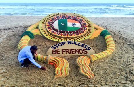 "Sand artist Sudarsan Pattnaik'spiece for Raksha Bandhanat Puri beach, Odisha, with a message urging India and Pakistan to ""Stop Bullets, Be Friends"""