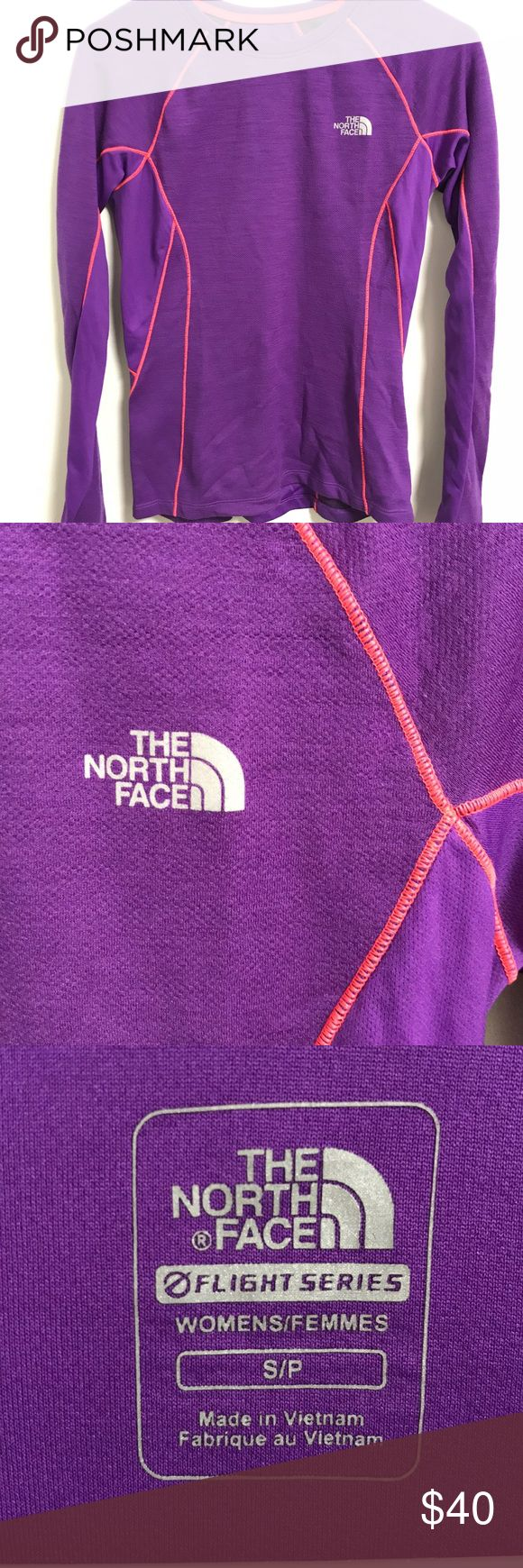 North Face Flight Series Purple Long Sleeve Top The North Face Flight Series purple long sleeve exercise top. Pink seems. Worn rarely. Size S. Light weight, great fit. The North Face Tops Tees - Long Sleeve