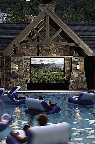 outdoor pool side theater....my family would never leave my house