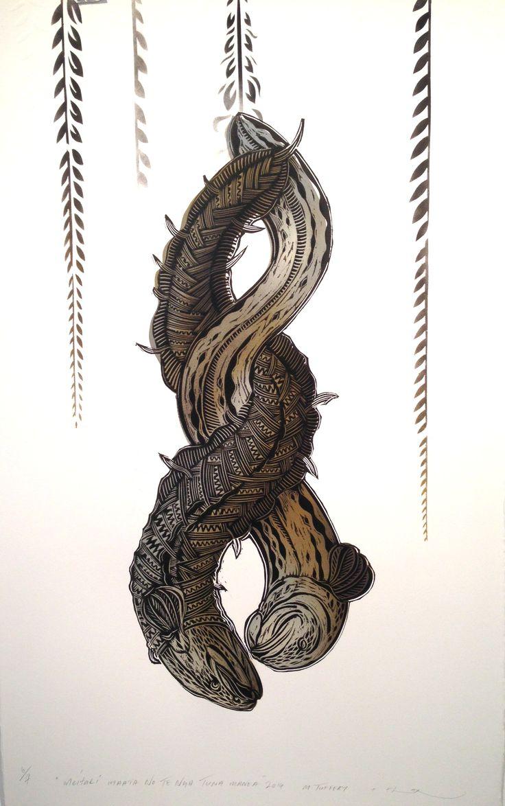 Michel Tuffery & Flox CoLab - Meitaki Maata no te Tuna Manea (eels) - stencil spraypaint and woodblock on embossed archival paper (2014)